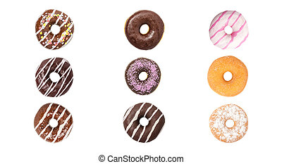 donuts, bianco, set