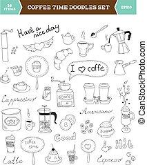 doodles, caffè, vettore, elementi