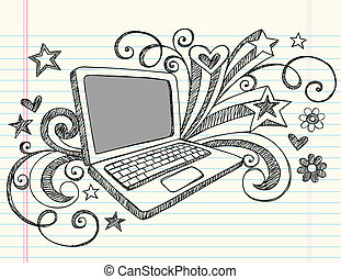 doodles, computer portatile, sketchy