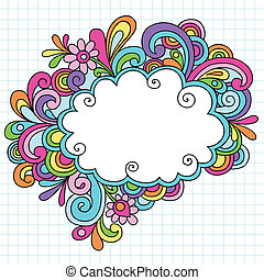 doodles, cornice, psichedelico, nuvola