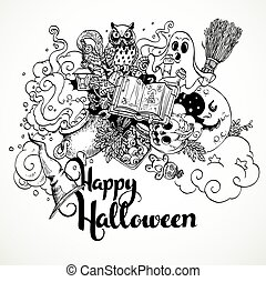 doodles, felice, fondo, halloween
