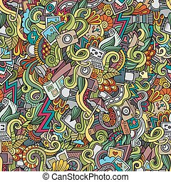 doodles, fotografia, seamless, modello