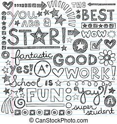 doodles, grande, lavoro, scuola, lodare