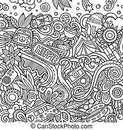 doodles, hippie, design., illustration., mano scheda, hippy, cornice, disegnato, vettore