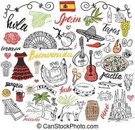 doodles, mano, spagna, disegnato, elements.