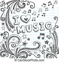doodles, note, vettore, musica, sketchy