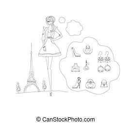 doodles, set, parigi, moda