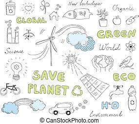 doodles, set, vettore, ecologia, elementi