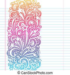 doodles, sketchy, bordo, pagina, scuola