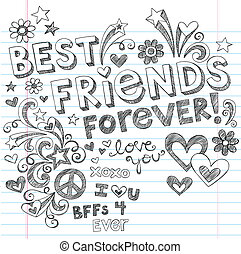 doodles, sketchy, vettore, amici, meglio