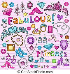 doodles, vettore, set, principessa
