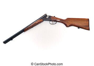 doppio, barile, aperto, breccia, fucile caccia