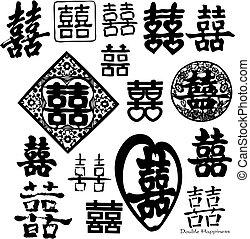 doppio, cinese, felicità