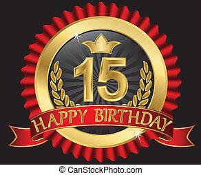 dorato, 15, labe, anni, compleanno, felice
