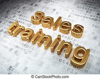 dorato, addestramento, render, vendite, fondo, pubblicità, digitale, concept:, 3d