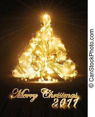 dorato, albero, scintille, 2011, scheda natale, splendore