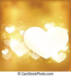 dorato, amore, fondo, cuore, luci, ardendo, stelle