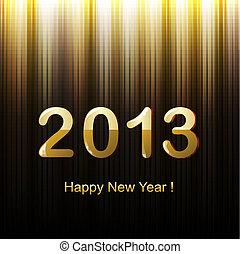 dorato, augurio, anno, nuovo, scheda, felice