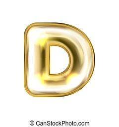 dorato, balloon, d, alfabeto, simbolo, lamina, gonfiato