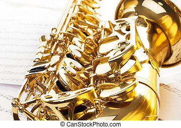 dorato, baluginante, contralto, chiavi, sassofono, campana
