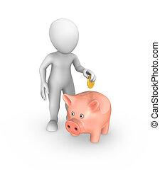 dorato, bank., mette, concept., risparmi, piggy, uomo, bianco, moneta, 3d