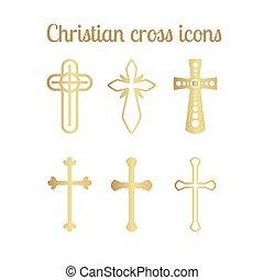 dorato, bianco, cristiano, croce, icone