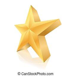dorato, bianco, stella, fondo