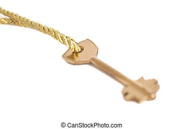dorato, catena oro, sopra, isolato, chiave, appendere, bianco
