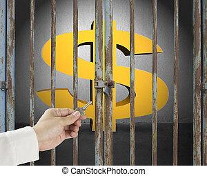 dorato, chiave porta, apertura, parete, simbolo soldi, mano, concreto, sfondo grigio, chiuso chiave, presa