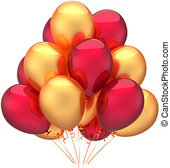 dorato, compleanno, palloni, rosso, felice