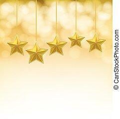 dorato, corde, fondo, stelle, blurry