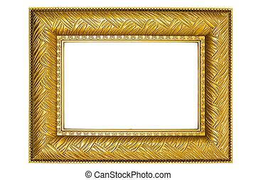 dorato, cornice, ornamenti, immagine