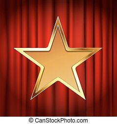 dorato, cornice stella, fondo, tenda, teatro, rosso