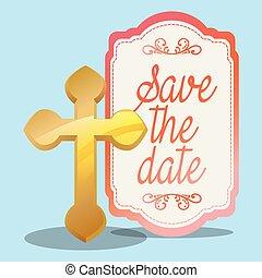 dorato, croce, augurio, matrimonio, data, risparmiare