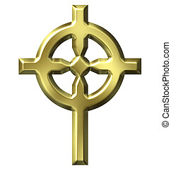 dorato, croce celtica, 3d