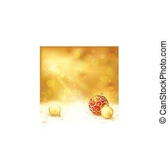 dorato, disegno, baubles, rosso, natale