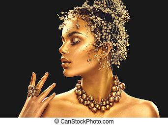 dorato, donna, bellezza, gioielleria, trucco, capelli, ragazza, skin., moda, sfondo nero, oro, modello