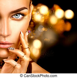 dorato, donna, bellezza, unghia, trucco, accessori, moda