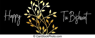dorato, ebreo, bishvat, vettore, bi, traduzione, orizzontale, poster., augurio, tu, illustration., shvat., bandiera, nuovo, ebraico, vacanza, anno, scheda, albero.