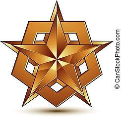 dorato, emblema, classico, stella, chiaro, isolato, eps, fondo., aristocratico, vettore, 8., bianco