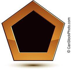 dorato, emblema, scudo, classico, chiaro, spazio, isolato, eps, fondo., aristocratico, vettore, nero, 8., bianco, copia