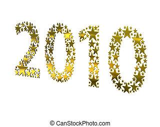 dorato, fatto, 2010, stelle