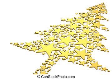 dorato, fatto, albero, natale, stelle