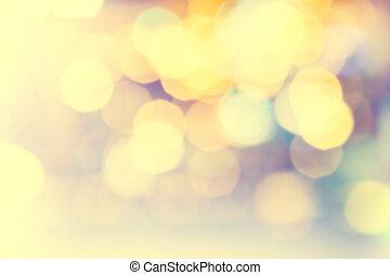 dorato, festivo, bokeh, lights., fondo, naturale, luminoso