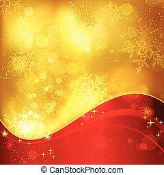 dorato, fiocchi neve, luce, effetti, fondo, natale, rosso