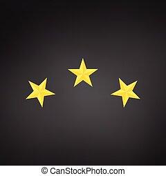 dorato, fondo., tre, illustrazione, isolato, achivement, stars., vettore, nero