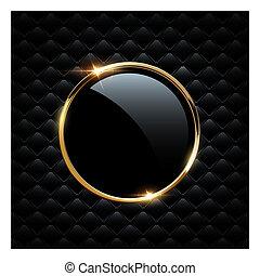 dorato, frame., vetro, isolato, sfavillante, fondo., vettore, nero, lusso, anello, cerchio