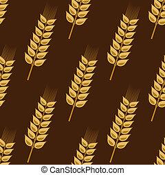 dorato, frumento, modello, seamless, cereale, orecchie