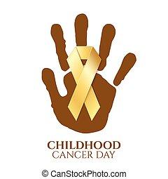dorato, giorno, infanzia, cancro, ribbon.
