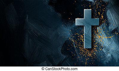 dorato, grafico, cristiano, splatter, croce, vernice, fondo
